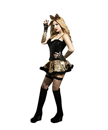 Candygirl Womens Sexy Leopard Catwoman Costume Outfit Lingerie Set(6 Piece)