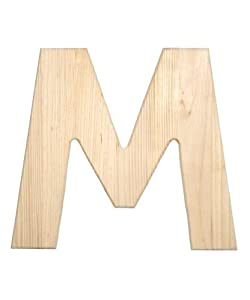 Amazoncom darice 0993 m natural unfinished wood letter m for Darice 7 fancy wood letters