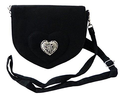 Elegante-Trachtentasche-im-Wildleder-Look-Dirndltasche-mit-Herz-Edelweiss-Applikation-frs-Dirndl-schwarz