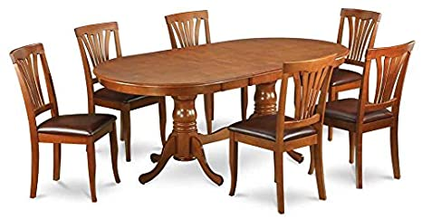 Oval Dining Table with 6 Upholstered Chairs
