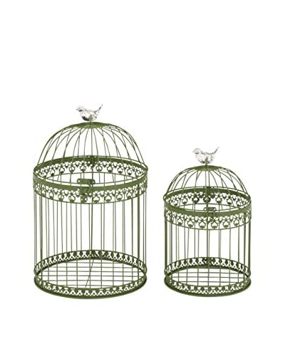 Deco 79 Set of 2 Metal Bird Cages, Green