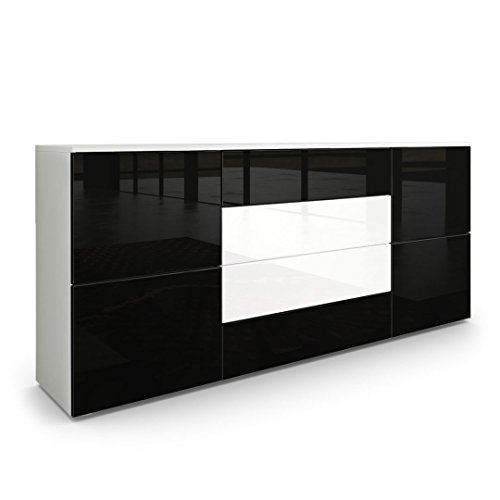 Sideboard-Kommode-Rova-in-Wei-matt-Schwarz-Hochglanz-Wei-Hochglanz