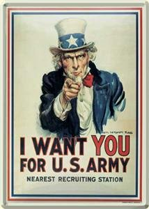 "Mini Blechschild Uncle Sam Logo "" I want You """
