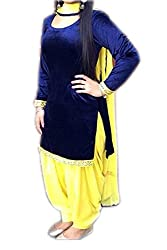 Zbuy Blue and Yellow Velvet Embroidered Unstitched Salwar Suit Dress Material