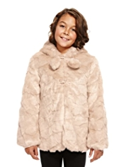 Autograph Hooded Faux Fur Pom-Pom Coat