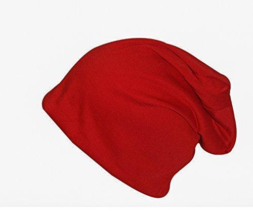 In Jersey di cotone Slouch Beanie cappello a tinta unita ltext Long e a forma di stella autunno inverno rosso Taglia unica