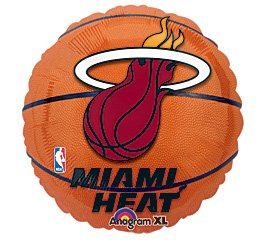 "Anagram International Miami Heat Flat Party Balloons, 18"", Multicolor"