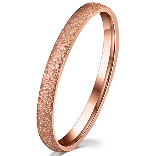 Womens 2mm Stainless Steel Sand Blast Finish Rose Gold Wedding Band Engagement Domed Ring Size 6 (Rose Gold Rings Size 6 compare prices)