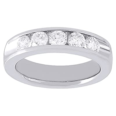 14K White Gold Round Cut Diamond Channel Wedding Band 1.00 Cttw