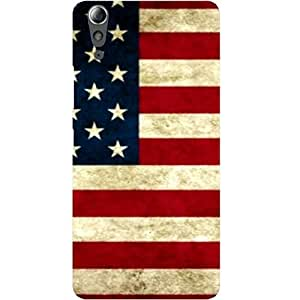 Casotec USA Flag Design Hard Back Case Cover for Lenovo A6000 / A6000 Plus