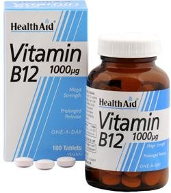 Health Aid, Vitamin B12 (Cyanocobalamin) 1000µg - Prolonged Release - 50 Tablets