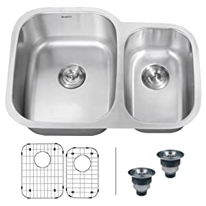 "Ruvati RVM4500 Undermount 16 Gauge 29"" Kitchen Sink Double Bowl"