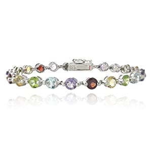 Sterling Silver 11.35ct Multi Gemstone & Diamond Accent Tennis Bracelet