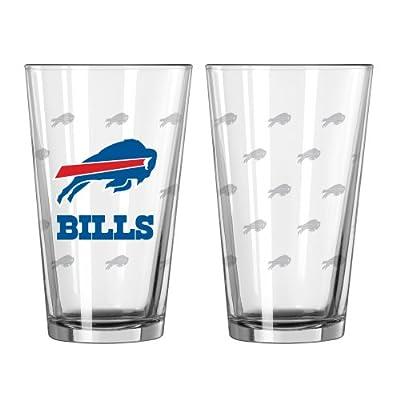 NFL Buffalo Bills Satin Etch Pint Glass Set (Pack of 2), 16-Ounce