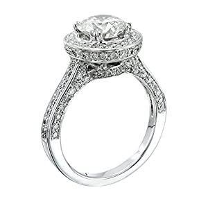 GIA Certified 14k white-gold Round Cut Diamond Engagement Ring (2.58 cttw, D Color, SI1 Clarity)