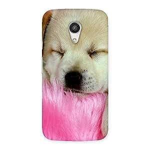 Ajay Enterprises Cuty Sleeping Pup Back Case Cover for Moto G 2nd Gen