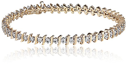 10k-Gold-S-Link-Diamond-Tennis-Bracelet-3-cttw-I-J-Color-I1-I2-Clarity