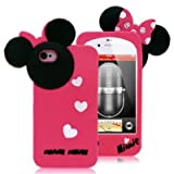 niceEshop Hot Pink Disney Minnie Mouse Hide and Seek Soft Silicone Case For The iphone 4/4S +Free Screen Protector