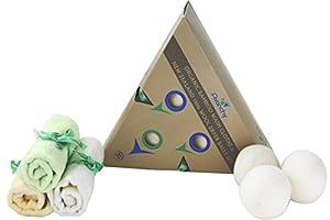 Bamboo Baby Washcloths. Reusable Baby Cloth Wipes + Energy Reducing Dryer Balls. Chemical Free Fabric Softener 100% Organic New Zealand Wool. Hypoallergenic + FREE BONUS E-BOOK