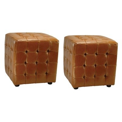 Safavieh Hudson Collection Maddox Leather Square Ottoman, Saddle, Set of 2