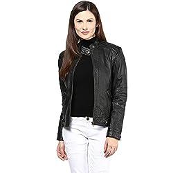 Hypernation Black Color Leather Jacket For Women