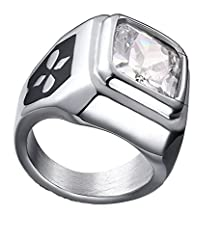 buy Mens Womens Wedding Band Stainless Steel White Square Rhinestone Inlaied Cz 10*11Mm Size 10 By Aienid