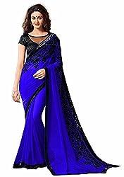 RadadiyaTRD Georgette Chain Stitch Embroidered Saree(MINTO_BLUE_FREE_SIZE)