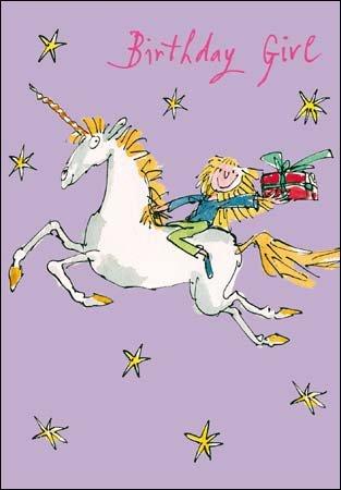 "Grußkarte (WDM1485) Girl's Geburtstag, Quentin-Blake-Motiv ""Girl on a Unicorn"