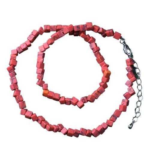 Pugster Red Semi Precious Chip Stone Necklace