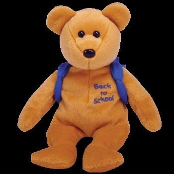 "Ty Books the bear - Blue Backpack and ""Back to School"" Embroidery on chest - Beanie Baby"