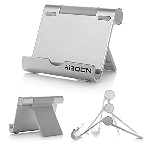 Aibocn® Universal Stand Display Holder with Aluminum Body Compatible for iPhone 6 Plus 6 5S 5C 5 4S 4 iPad Air iPad Mini Samsung Galaxy S6 S5 Note 4 3 LG HTC Google Nexus Motorola Lumia and All 4 - 10 inches Smartphone Tablet and E-reader