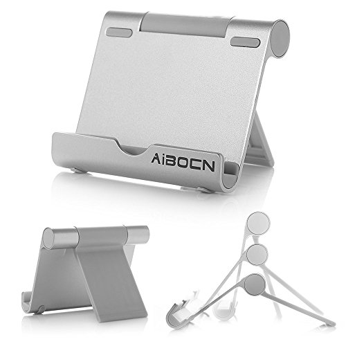 Aibocn® Universal Portable and Adjustable Tablet Cell Phone Stand Holder with Multi-Angle Durable Aluminum Body, Compatible with Apple iPad Air/4/3, iPad Mini/Mini Retina, iPhone 6 / 6 Plus / 5/5S/5C/4S, Samsung Galaxy Tab 2 Tab 3 Note 8.0 Note 10.1, Galaxy S5 S4 S3 Note 2 Note 3, HTC One M8, Google Nexus 5/7/10, Asus EeePad Transformer Most 4- 10 inches Smartphone, Tablet and E-reader