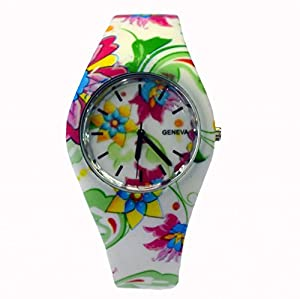 Style Gift Women Ladies Flower Print Rubber Unisex Quartz Watch SG1237-#2