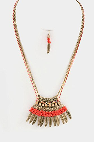 Trendy Fashion Jewelry Cord With Crystal And Leaves Dangle Necklace Set By Fashion Destination | (Coral)
