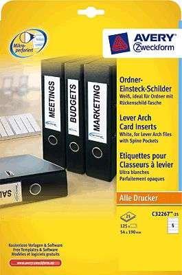 AVERY Zweckform Einsteckrückenschilder/C32267-25, weiß, Karton,54x190mm, Inh.125