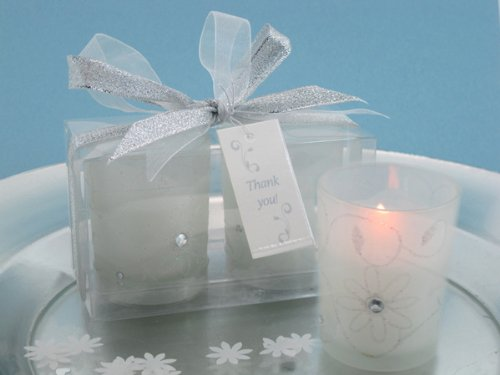 Sparkling Floral Votive Candle Set in Display Box - Wedding Party or Shower Favor Keepsake Idea