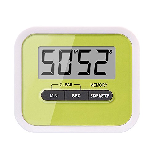 Kaimo Digital Magnetic Kitchen Timer with Loud Alarm, Large LCD Screen, Stand and Clip, Count Down / Up - Green (Duck Egg Timer compare prices)