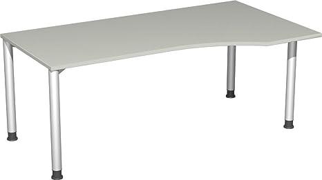 Gera Möbel PC scrivania destra regolabile in altezza, 1800x 1000x 680-800, luce grigio/argento