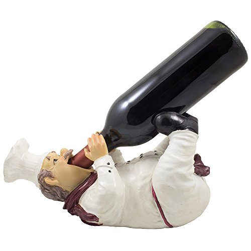 Drinking French Chef Pierre Wine Bottle Holder Statue in Decorative Bar or Tabletop Wine Racks & Country Cottage Decor Display Stands As Gifts for Wine Lovers and Kitchen Gourmet Chefs (Chef Wine Rack compare prices)
