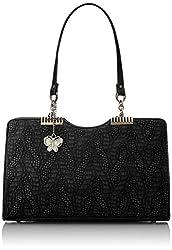 Butterflies Women's  Handbag (Black) (BNS 0565BK)