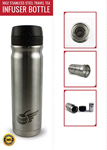 Flying Tea Gourd Travel Tea Infuser Bottle, Loose Leaf, Stainless Steel Tea Thermos with Mesh Tea Basket, 16oz