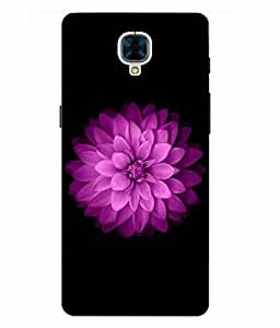 Case Cover Flower Printed Black Hard Back Cover For OnePlus 3
