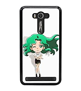 Vizagbeats Animated Winking Girl in Green Back Case Cover for ASUS ZENFONE LASER 550KL