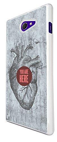 330 - Heart You Are Here Design für Alle Sony Xperia Z / Sony Xperia Z1 / Sony Xperia Z2 / Sony Xperia Z3 / Sony Xperia Z4 / Sony Xperia Z1 Compact / Sony Xperia Z2 Compact / Sony Xperia Z3 Compact / Sony Xperia Z4 Compact / Sony Xperia M2 / Sony Xperia M4 Fashion Trend Hülle Schutzhülle Case Cover Metall und Kunststoff - Bitte wählen Sie Ihr Telefonmodell und Farbe aus der Dropbox
