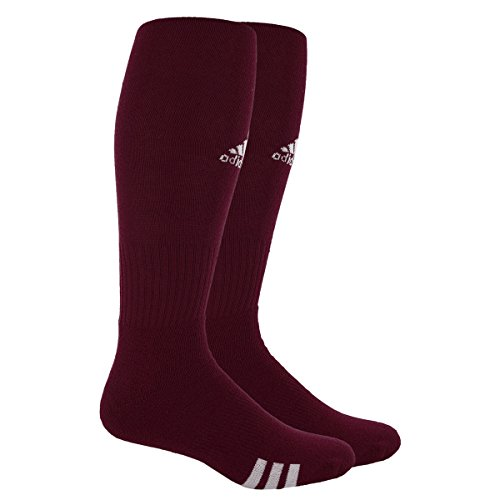 adidas Unisex Rivalry Field 2-Pack Otc sock, Light Maroon/White, Large
