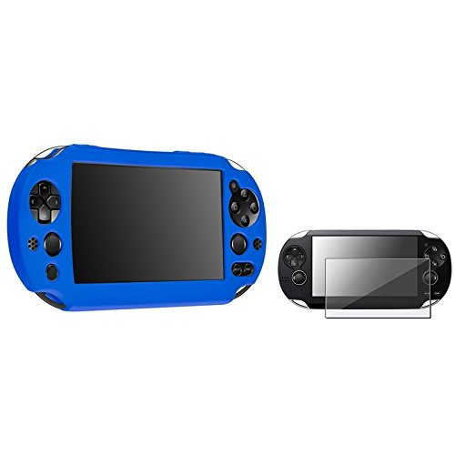 Everydaysource® Compatible With Sony Playstation Vita 2000 Controller Blue Silicone Skin Case + Reusable Screen Protector