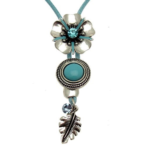 Acosta - Aqua Blue & Antique Silver Tone - Flower Necklace with Leaf & Crystal Charms