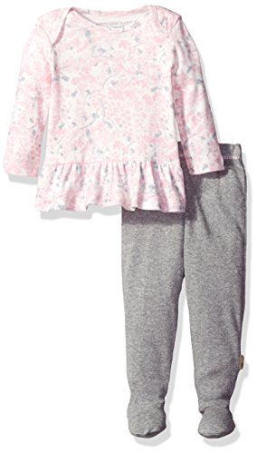 Burt's Bees Baby Girls' Watercolor Organic Dress + Pant Set, Multi, 6-9 Months