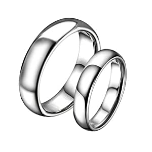 Lovejewelry Retro Silver Tungsten Steel Couple Ring Lover's Promise Ring (7, Men's Ring)