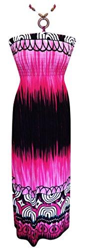 Peach Couture Exotic Tahiti Multicolor Border Print Maxi Dress (Xl Deep Fuchsia)